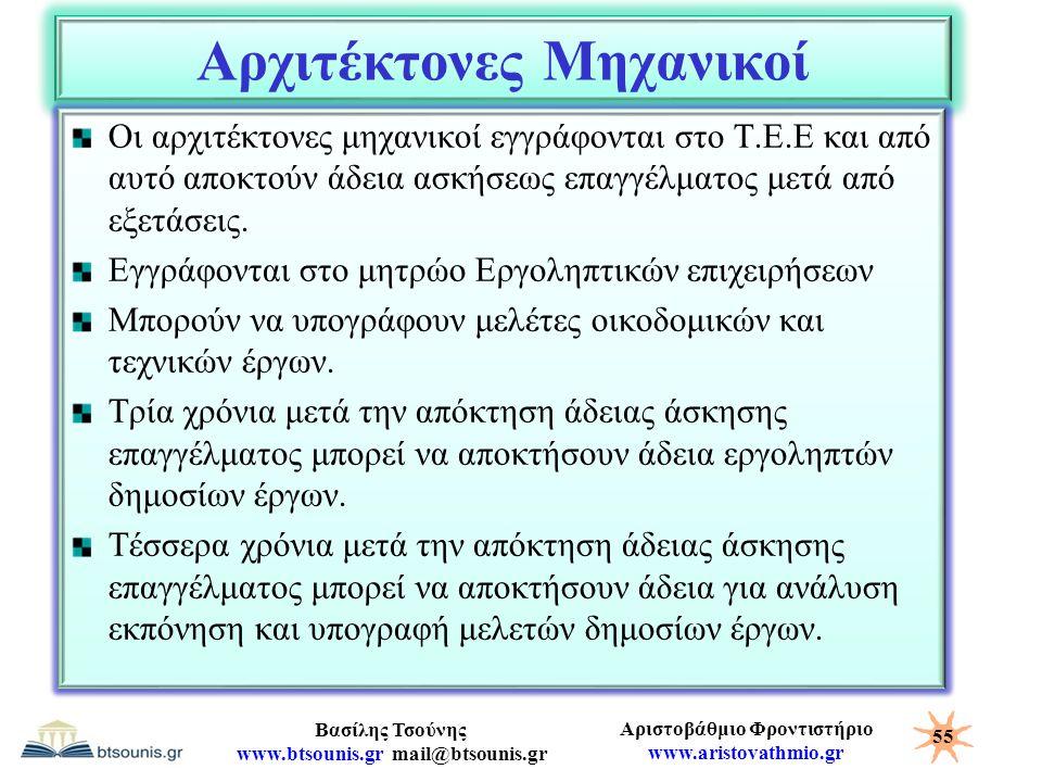 Αριστοβάθμιο Φροντιστήριο www.aristovathmio.gr Βασίλης Τσούνης www.btsounis.gr mail@btsounis.gr Αρχιτέκτονες Μηχανικοί Οι αρχιτέκτονες μηχανικοί εγγρά