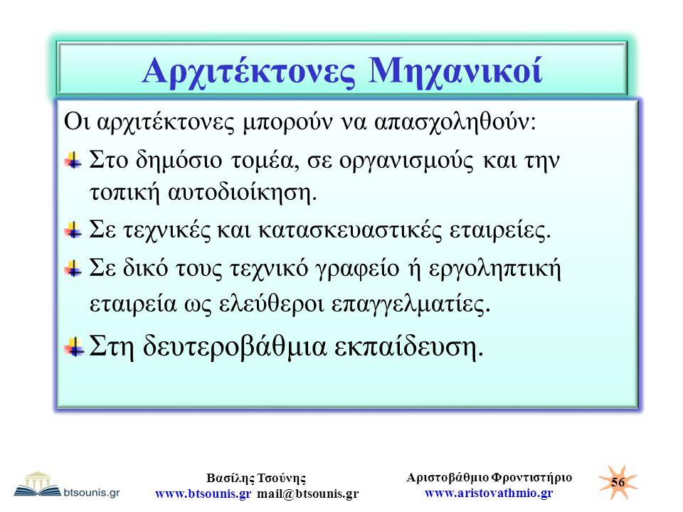 Αριστοβάθμιο Φροντιστήριο www.aristovathmio.gr Βασίλης Τσούνης www.btsounis.gr mail@btsounis.gr Αρχιτέκτονες Μηχανικοί Οι αρχιτέκτονες μπορούν να απασ
