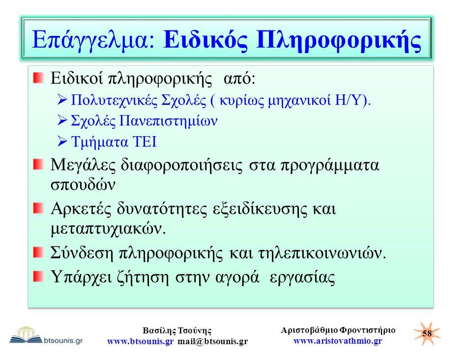 Αριστοβάθμιο Φροντιστήριο www.aristovathmio.gr Βασίλης Τσούνης www.btsounis.gr mail@btsounis.gr Επάγγελμα: Ειδικός Πληροφορικής Ειδικοί πληροφορικής α