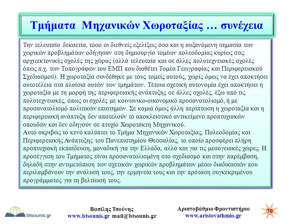 Αριστοβάθμιο Φροντιστήριο www.aristovathmio.gr Βασίλης Τσούνης www.btsounis.gr mail@btsounis.gr Τμήματα Μηχανικών Χωροταξίας … συνέχεια 70 Την τελευτα