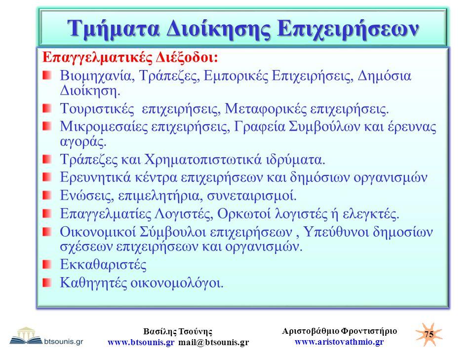 Αριστοβάθμιο Φροντιστήριο www.aristovathmio.gr Βασίλης Τσούνης www.btsounis.gr mail@btsounis.gr Τμήματα Διοίκησης Επιχειρήσεων Επαγγελματικές Διέξοδοι