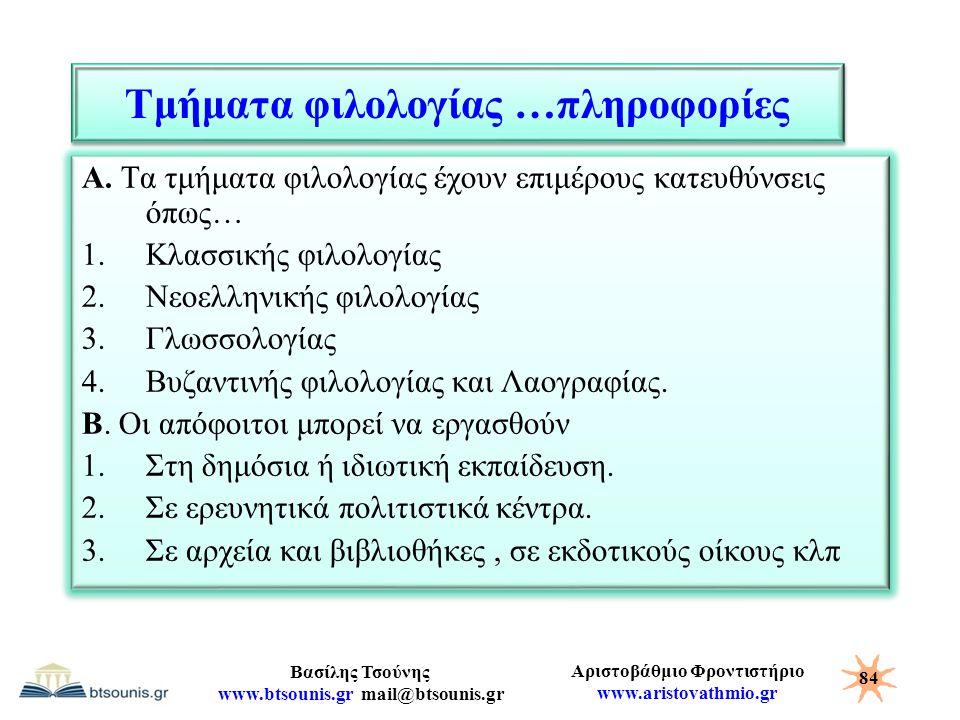 Αριστοβάθμιο Φροντιστήριο www.aristovathmio.gr Βασίλης Τσούνης www.btsounis.gr mail@btsounis.gr Τμήματα φιλολογίας …πληροφορίες Α. Τα τμήματα φιλολογί