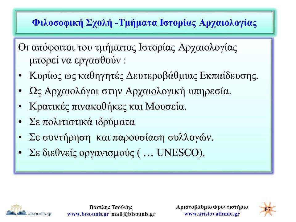 Αριστοβάθμιο Φροντιστήριο www.aristovathmio.gr Βασίλης Τσούνης www.btsounis.gr mail@btsounis.gr Φιλοσοφική Σχολή -Τμήματα Ιστορίας Αρχαιολογίας Οι από