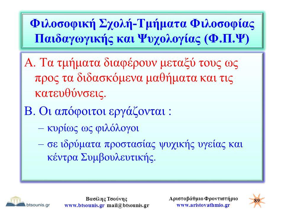 Αριστοβάθμιο Φροντιστήριο www.aristovathmio.gr Βασίλης Τσούνης www.btsounis.gr mail@btsounis.gr Φιλοσοφική Σχολή-Τμήματα Φιλοσοφίας Παιδαγωγικής και Ψ