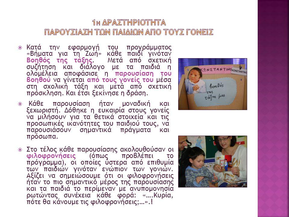  Κατά την εφαρμογή του προγράμματος «Βήματα για τη Ζωή» κάθε παιδί γινόταν Βοηθός της τάξης. Μετά από σχετική συζήτηση και διάλογο με τα παιδιά η ολο