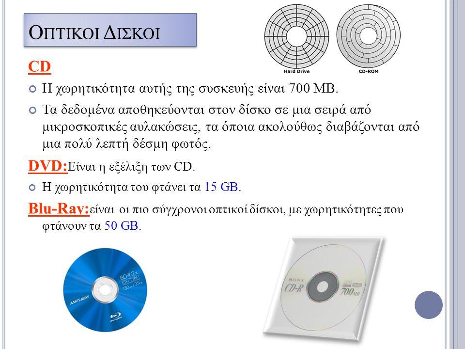 Ο ΠΤΙΚΟI Δ IΣΚΟΙ CD Η χωρητικότητα αυτής της συσκευής είναι 700 ΜΒ. Τα δεδομένα αποθηκεύονται στον δίσκο σε μια σειρά από μικροσκοπικές αυλακώσεις, τα