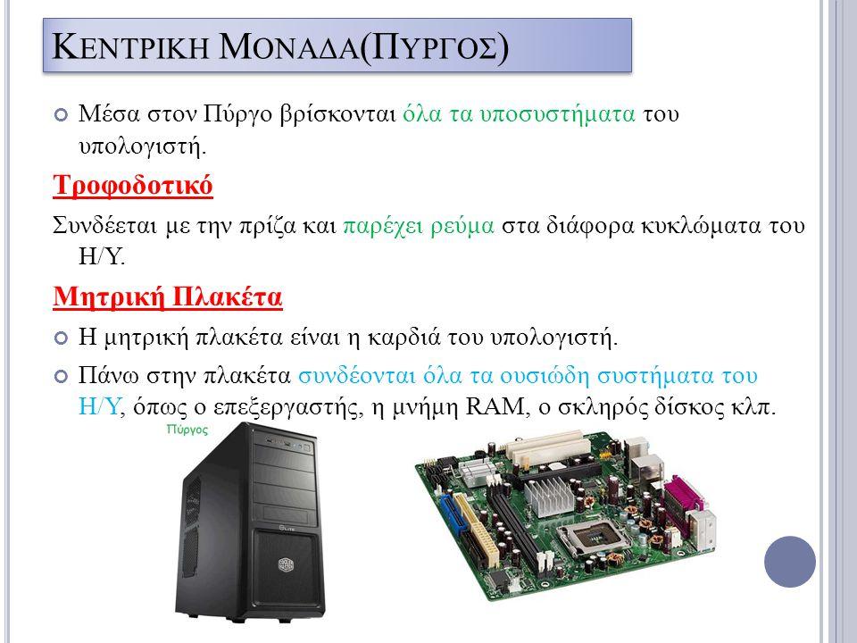 Κ ΕΝΤΡΙΚΗ Μ ΟΝΑΔΑ (Π ΥΡΓΟΣ ) Μέσα στον Πύργο βρίσκονται όλα τα υποσυστήματα του υπολογιστή. Τροφοδοτικό Συνδέεται με την πρίζα και παρέχει ρεύμα στα δ