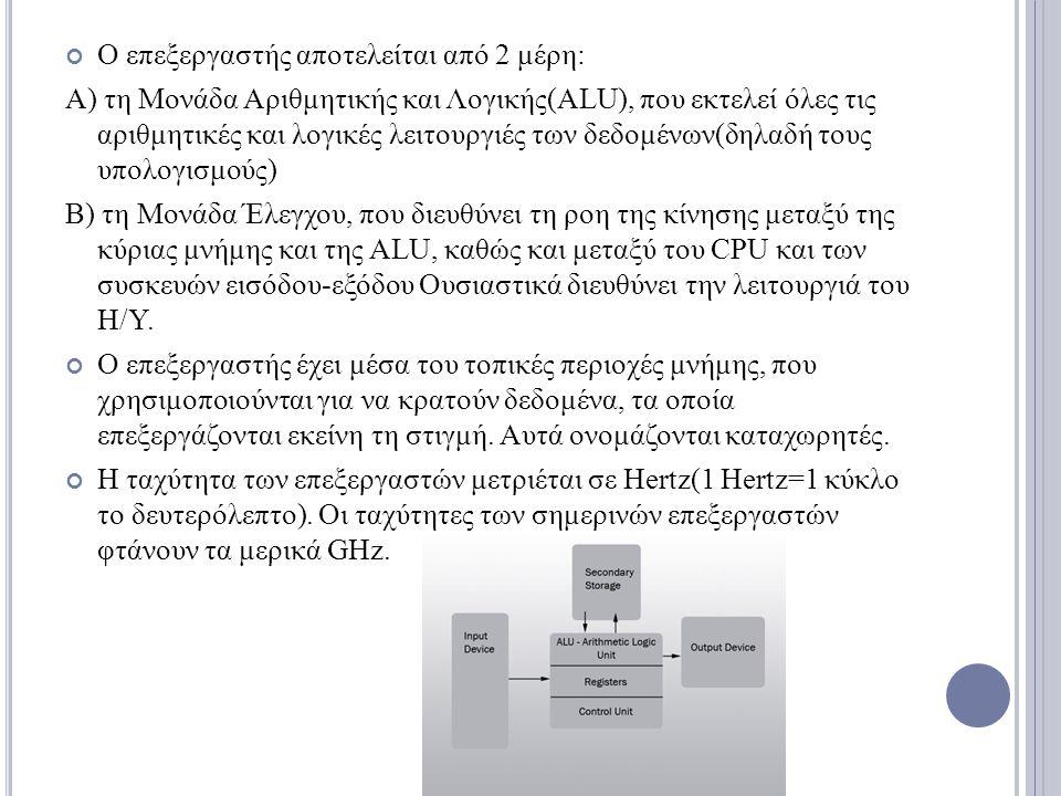 Ο επεξεργαστής αποτελείται από 2 μέρη: Α) τη Μονάδα Αριθμητικής και Λογικής(ALU), που εκτελεί όλες τις αριθμητικές και λογικές λειτουργιές των δεδομέν