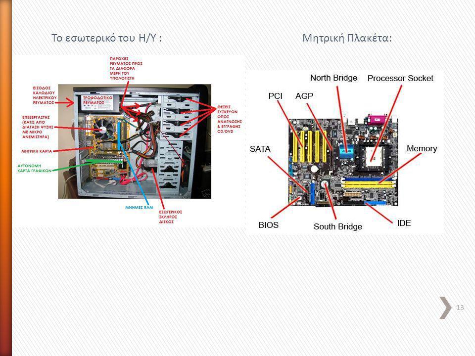 13 Το εσωτερικό του Η/Υ :Μητρική Πλακέτα: