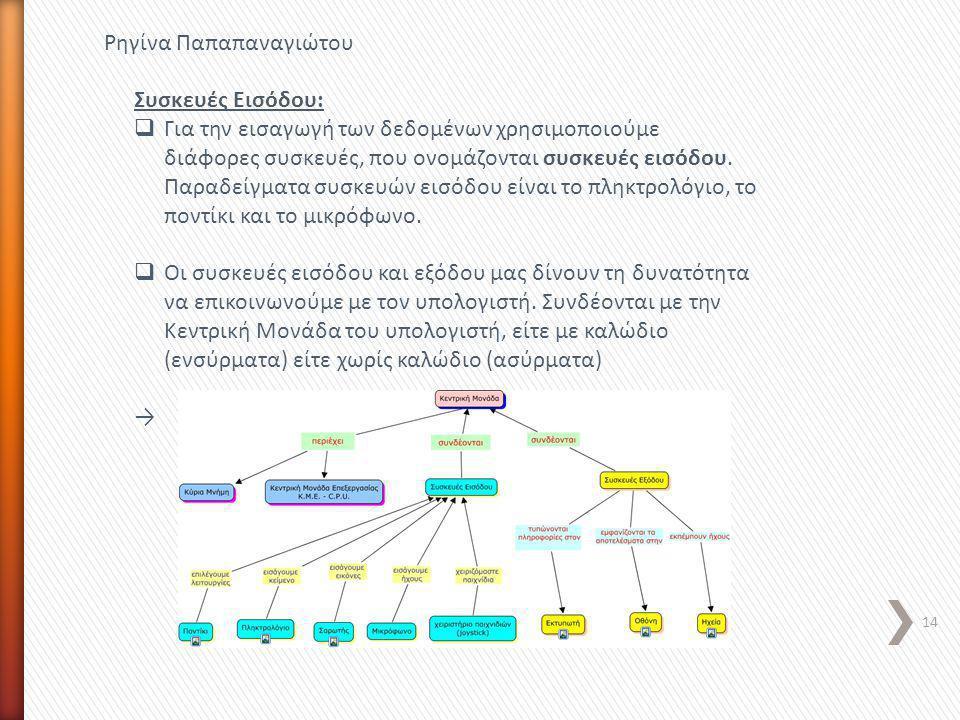 14 Ρηγίνα Παπαπαναγιώτου Συσκευές Εισόδου:  Για την εισαγωγή των δεδομένων χρησιμοποιούμε διάφορες συσκευές, που ονομάζονται συσκευές εισόδου. Παραδε