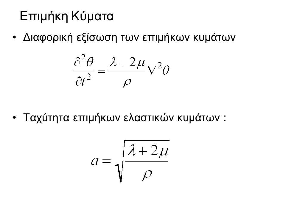 Διαφορική εξίσωση των επιμήκων κυμάτων Ταχύτητα επιμήκων ελαστικών κυμάτων : Επιμήκη Κύματα