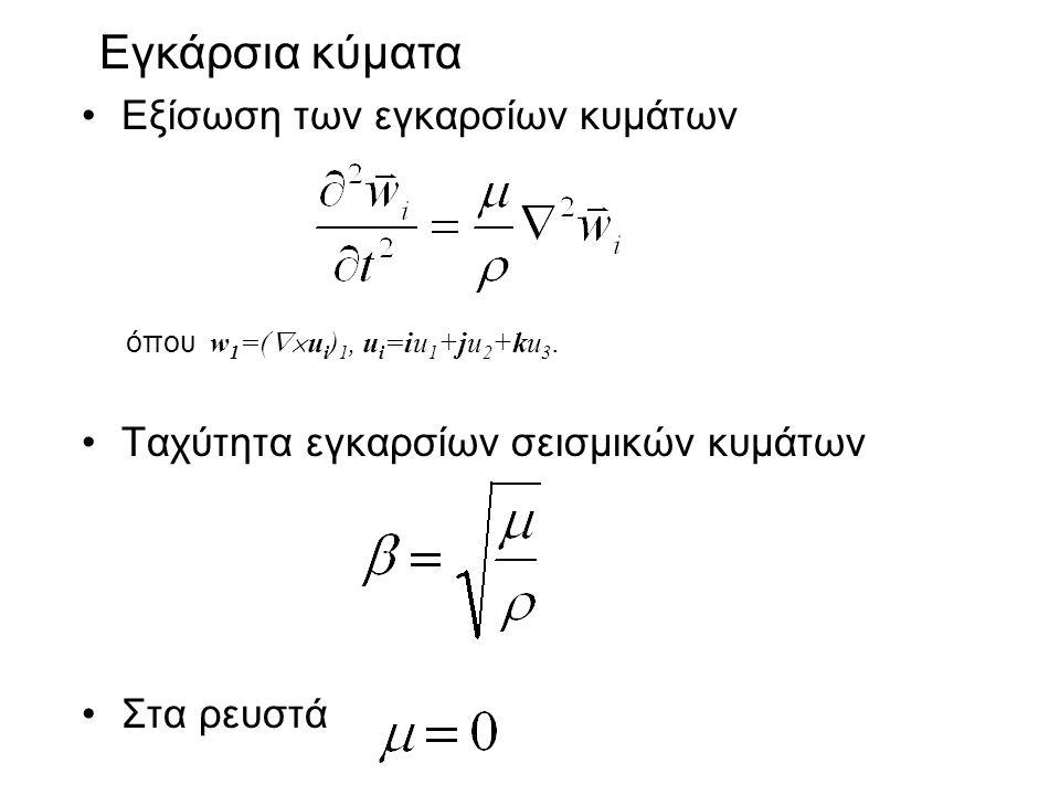 Εξίσωση των εγκαρσίων κυμάτων Ταχύτητα εγκαρσίων σεισμικών κυμάτων Στα ρευστά Εγκάρσια κύματα όπου w 1 =(  u i ) 1, u i =iu 1 +ju 2 +ku 3.