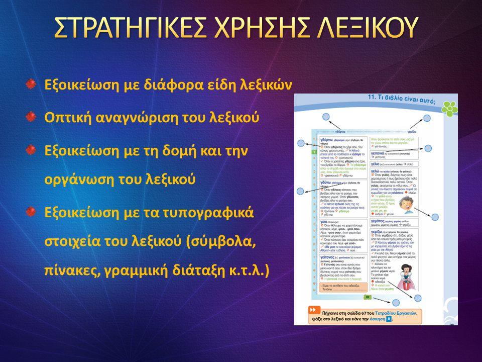 Εξοικείωση με διάφορα είδη λεξικών Οπτική αναγνώριση του λεξικού Εξοικείωση με τη δομή και την οργάνωση του λεξικού Εξοικείωση με τα τυπογραφικά στοιχεία του λεξικού (σύμβολα, πίνακες, γραμμική διάταξη κ.τ.λ.)