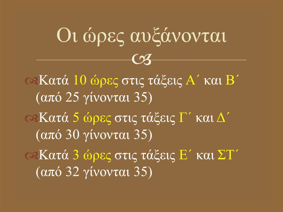   Κατά 10 ώρες στις τάξεις Α΄ και Β΄ ( από 25 γίνονται 35)  Κατά 5 ώρες στις τάξεις Γ΄ και Δ΄ ( από 30 γίνονται 35)  Κατά 3 ώρες στις τάξεις Ε΄ και ΣΤ΄ ( από 32 γίνονται 35) Οι ώρες αυξάνονται