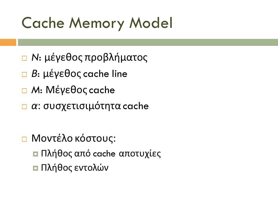 Cache Memory Model  N: μέγεθος προβλήματος  Β : μέγεθος cache line  M: Μέγεθος cache  α : συσχετισιμότητα cache  Μοντέλο κόστους :  Πλήθος από c
