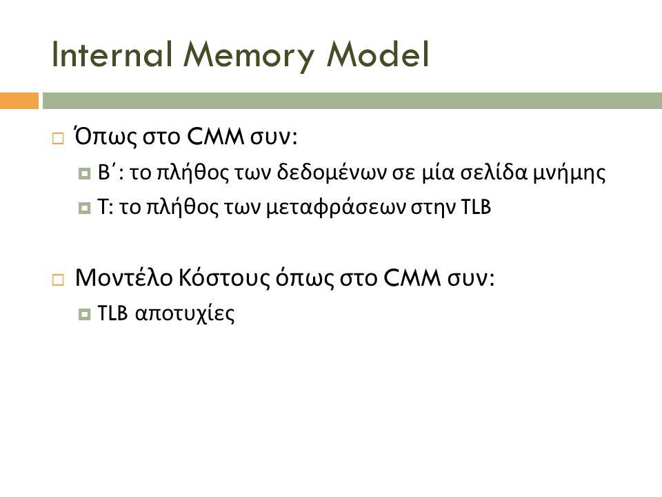 Internal Memory Model  Όπως στο CMM συν :  Β΄ : το πλήθος των δεδομένων σε μία σελίδα μνήμης  Τ : το πλήθος των μεταφράσεων στην TLB  Μοντέλο Κόστ