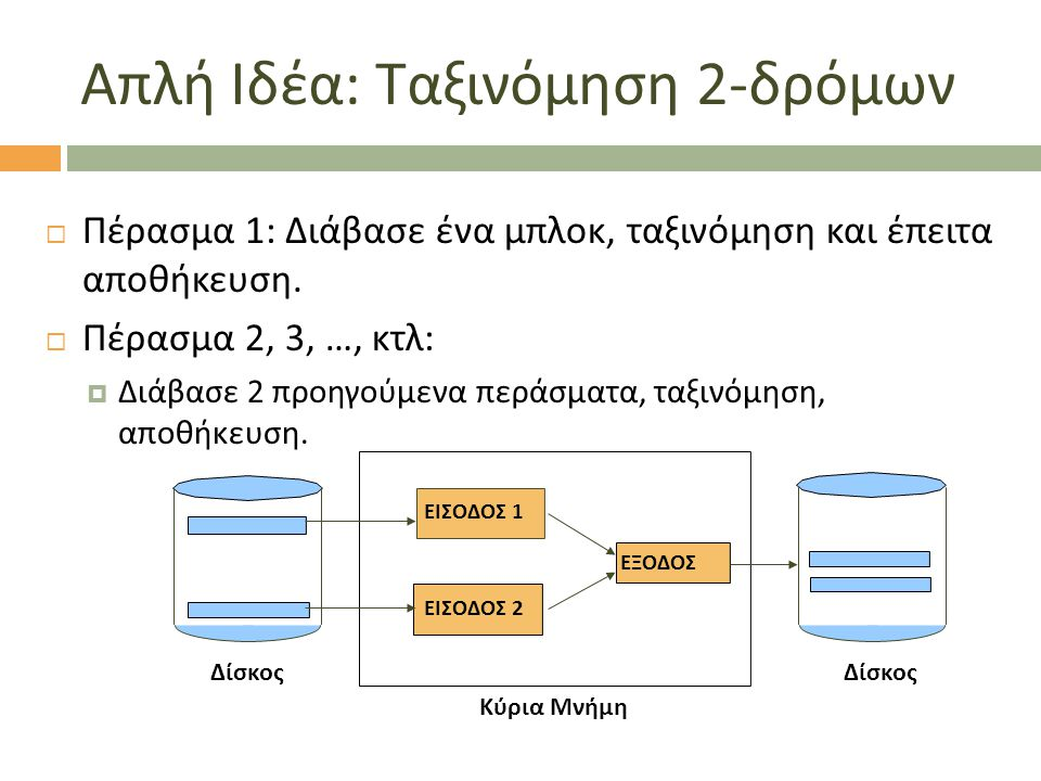 Απλή Ιδέα : Ταξινόμηση 2- δρόμων  Πέρασμα 1: Διάβασε ένα μπλοκ, ταξινόμηση και έπειτα αποθήκευση.  Πέρασμα 2, 3, …, κτλ:  Διάβασε 2 προηγούμενα περ