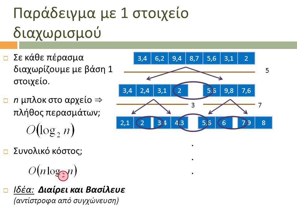 Παράδειγμα με 1 στοιχείο διαχωρισμού  Σε κάθε πέρασμα διαχωρίζουμε με βάση 1 στοιχείο.  n μπλοκ στο αρχείο ⇒ πλήθος περασμάτων;  Συνολικό κόστος; 