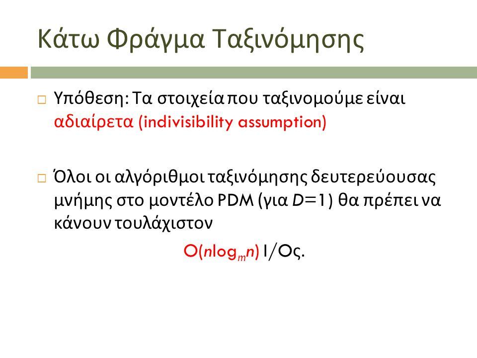 Κάτω Φράγμα Ταξινόμησης  Υπόθεση : Τα στοιχεία που ταξινομούμε είναι αδιαίρετα (indivisibility assumption)  Όλοι οι αλγόριθμοι ταξινόμησης δευτερεύο