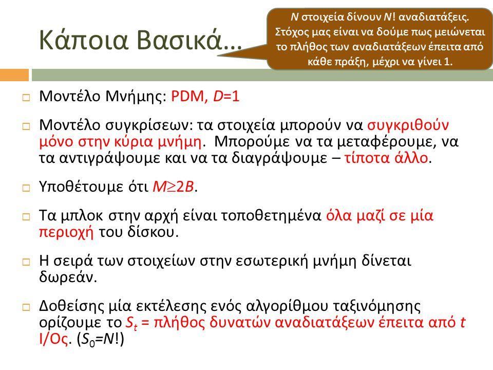 Κάποια Βασικά …  Μοντέλο Μνήμης: PDM, D=1  Μοντέλο συγκρίσεων: τα στοιχεία μπορούν να συγκριθούν μόνο στην κύρια μνήμη. Μπορούμε να τα μεταφέρουμε,