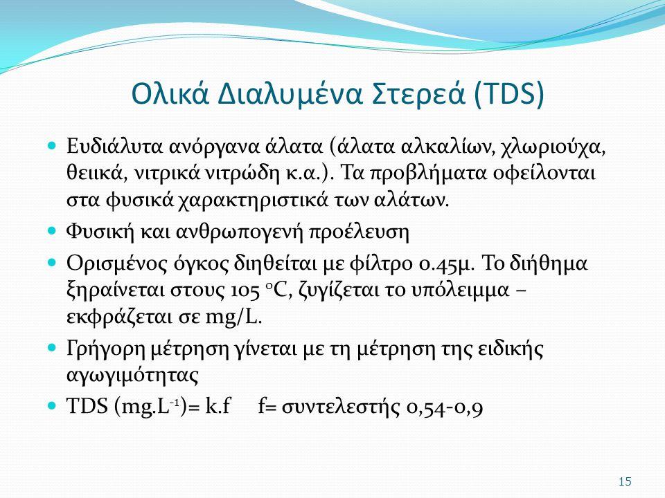 Ολικά Διαλυμένα Στερεά (TDS) Ευδιάλυτα ανόργανα άλατα (άλατα αλκαλίων, χλωριούχα, θειικά, νιτρικά νιτρώδη κ.α.). Τα προβλήματα οφείλονται στα φυσικά χ