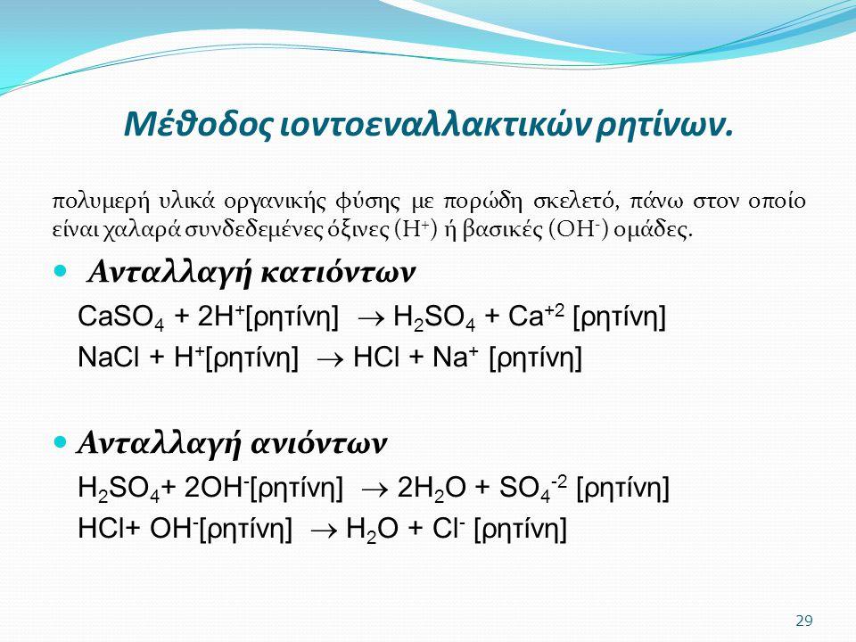 Μέθοδος ιοντοεναλλακτικών ρητίνων. πολυμερή υλικά οργανικής φύσης με πορώδη σκελετό, πάνω στον οποίο είναι χαλαρά συνδεδεμένες όξινες (Η + ) ή βασικές