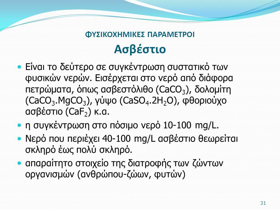 ΦΥΣΙΚΟΧΗΜΙΚΕΣ ΠΑΡΑΜΕΤΡΟΙ Ασβέστιο Είναι το δεύτερο σε συγκέντρωση συστατικό των φυσικών νερών. Εισέρχεται στο νερό από διάφορα πετρώματα, όπως ασβεστό
