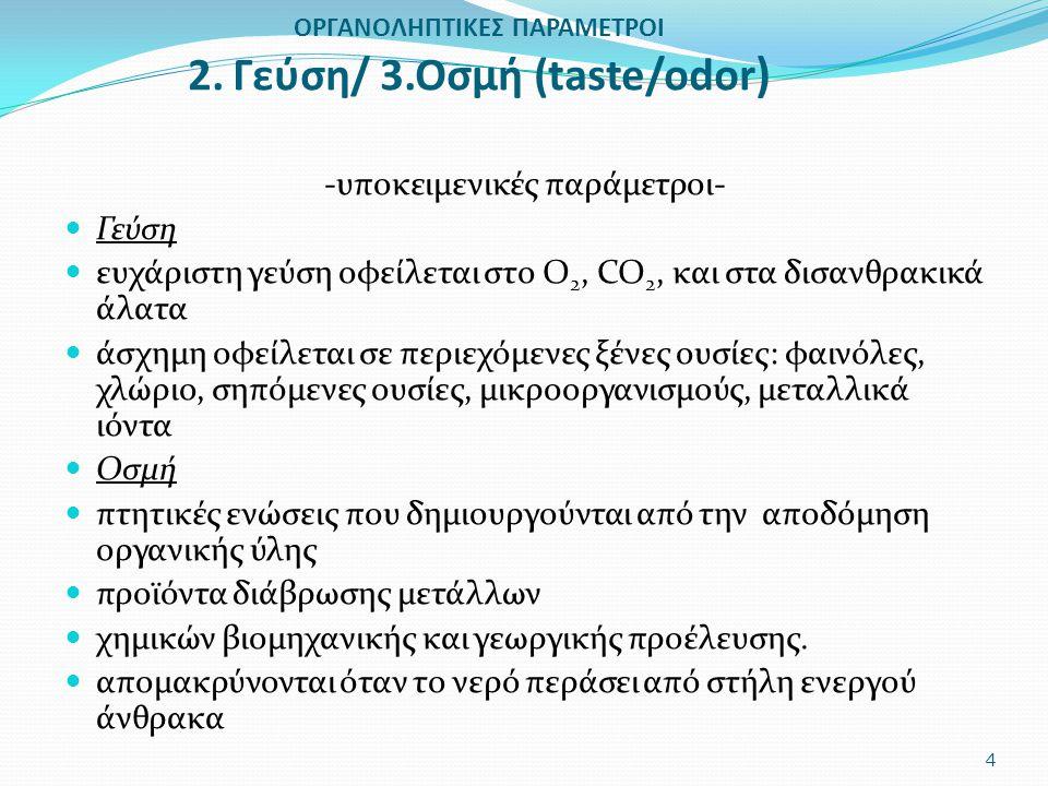 ΟΡΓΑΝΟΛΗΠΤΙΚΕΣ ΠΑΡΑΜΕΤΡΟΙ 2. Γεύση/ 3.Οσμή (taste/odor ) -υποκειμενικές παράμετροι- Γεύση ευχάριστη γεύση οφείλεται στο Ο 2, CO 2, και στα δισανθρακικ