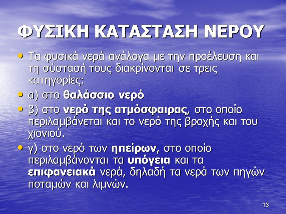 13 ΦΥΣΙΚΗ ΚΑΤΑΣΤΑΣΗ ΝΕΡΟΥ Τα φυσικά νερά ανάλογα με την προέλευση και τη σύστασή τους διακρίνονται σε τρεις κατηγορίες: Τα φυσικά νερά ανάλογα με την