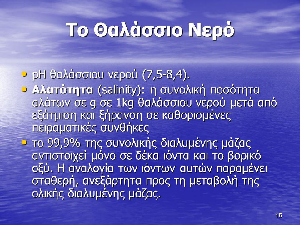 15 Το Θαλάσσιο Νερό pH θαλάσσιου νερού (7,5-8,4). pH θαλάσσιου νερού (7,5-8,4). Αλατότητα (salinity): η συνολική ποσότητα αλάτων σε g σε 1kg θαλάσσιου