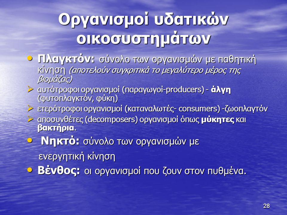 28 Οργανισμοί υδατικών οικοσυστημάτων Πλαγκτόν: σύνολο των οργανισμών με παθητική κίνηση (αποτελούν συγκριτικά το μεγαλύτερο μέρος της βιομάζας) Πλαγκ