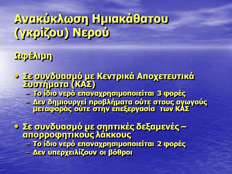 Ανακύκλωση Ημιακάθατου (γκρίζου) Νερού Ωφέλιμη Σε συνδυασμό με Κεντρικά Αποχετευτικά Συστήματα (ΚΑΣ) Σε συνδυασμό με Κεντρικά Αποχετευτικά Συστήματα (