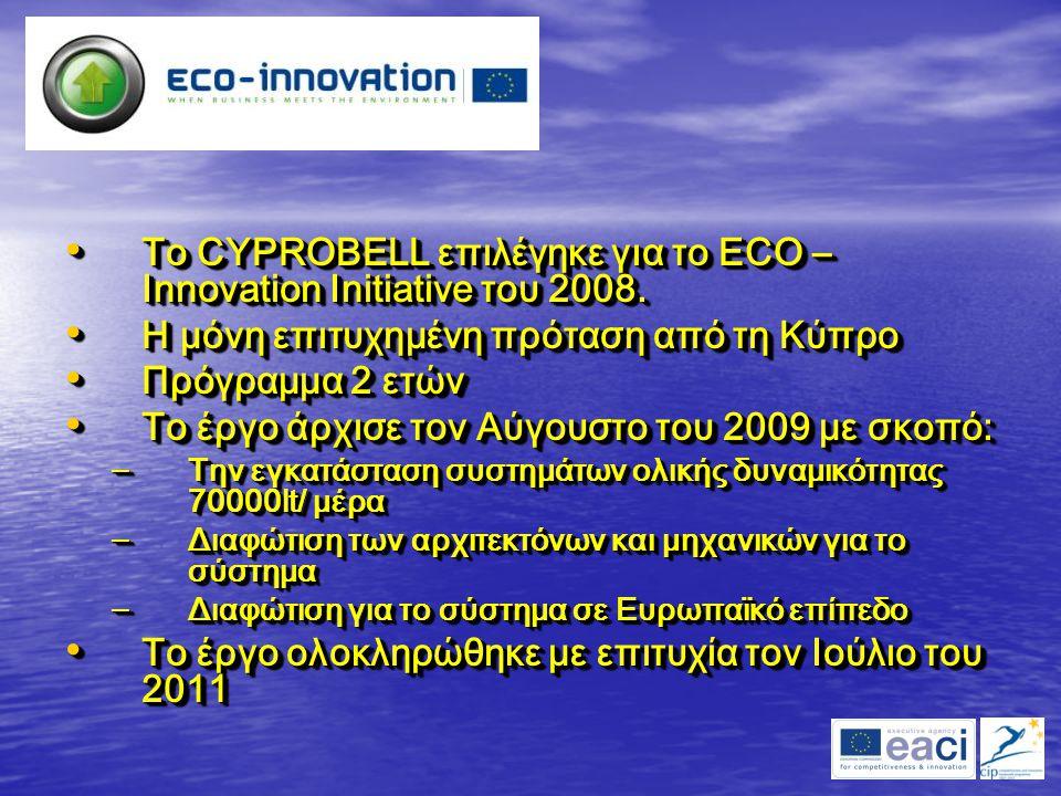 Το CYPROBELL επιλέγηκε για το ECO – Innovation Initiative του 2008. Το CYPROBELL επιλέγηκε για το ECO – Innovation Initiative του 2008. Η μόνη επιτυχη