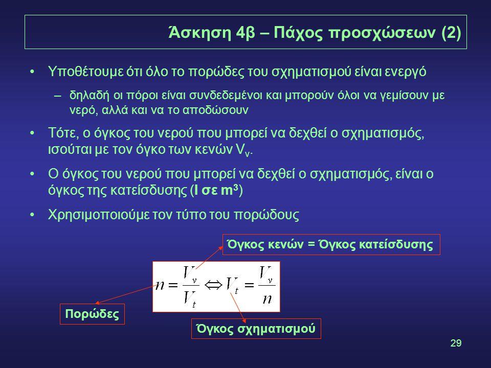 29 Άσκηση 4β – Πάχος προσχώσεων (2) Υποθέτουμε ότι όλο το πορώδες του σχηματισμού είναι ενεργό –δηλαδή οι πόροι είναι συνδεδεμένοι και μπορούν όλοι να