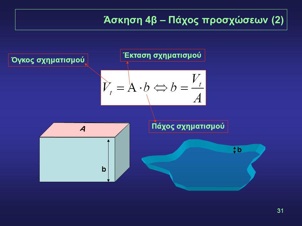 31 Άσκηση 4β – Πάχος προσχώσεων (2) Όγκος σχηματισμού Έκταση σχηματισμού Πάχος σχηματισμού Α b b