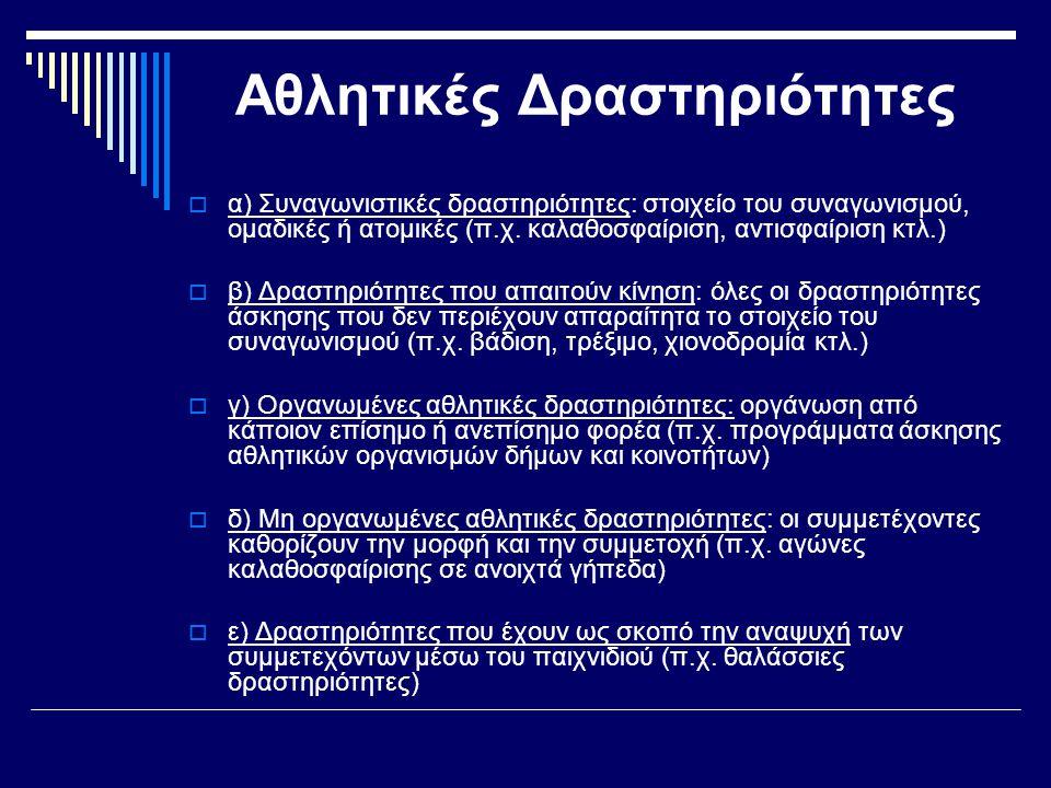 Αθλητικές Δραστηριότητες  α) Συναγωνιστικές δραστηριότητες: στοιχείο του συναγωνισμού, ομαδικές ή ατομικές (π.χ. καλαθοσφαίριση, αντισφαίριση κτλ.) 