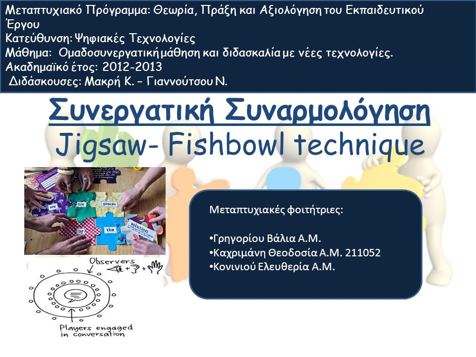 Συνεργατική Συναρμολόγηση Jigsaw- Fishbowl technique Μεταπτυχιακές φοιτήτριες: Γρηγορίου Βάλια Α.Μ. Καχριμάνη Θεοδοσία A.M. 211052 Κονινιού Ελευθερία