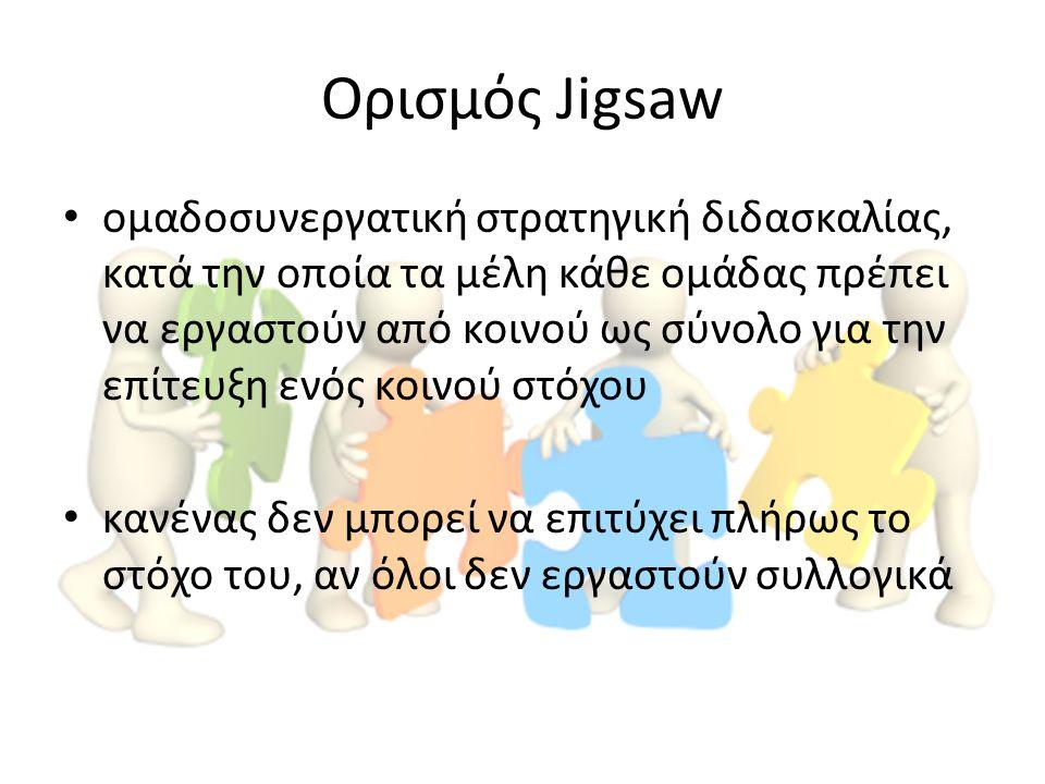 Ορισμός Jigsaw ομαδοσυνεργατική στρατηγική διδασκαλίας, κατά την οποία τα μέλη κάθε ομάδας πρέπει να εργαστούν από κοινού ως σύνολο για την επίτευξη ε