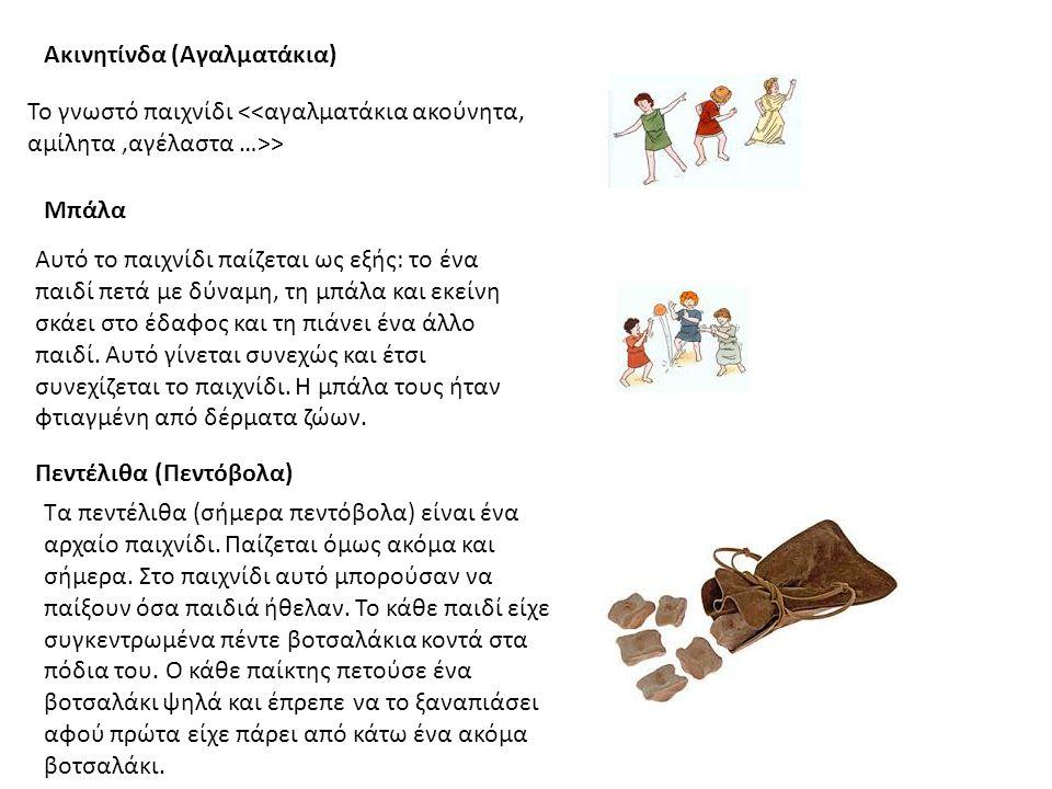 Ακινητίνδα (Αγαλματάκια) Το γνωστό παιχνίδι > Μπάλα Αυτό το παιχνίδι παίζεται ως εξής: το ένα παιδί πετά με δύναμη, τη μπάλα και εκείνη σκάει στο έδαφος και τη πιάνει ένα άλλο παιδί.