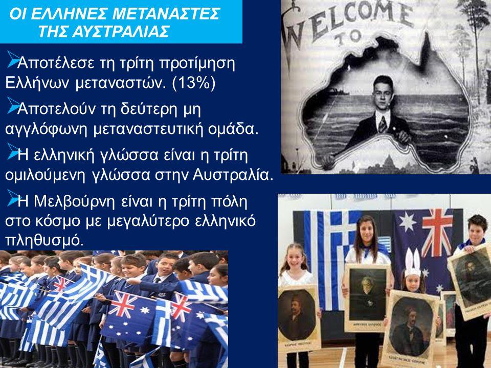  Αποτέλεσε τη τρίτη προτίμηση Ελλήνων μεταναστών. (13%)  Αποτελούν τη δεύτερη μη αγγλόφωνη μεταναστευτική ομάδα.  Η ελληνική γλώσσα είναι η τρίτη ο