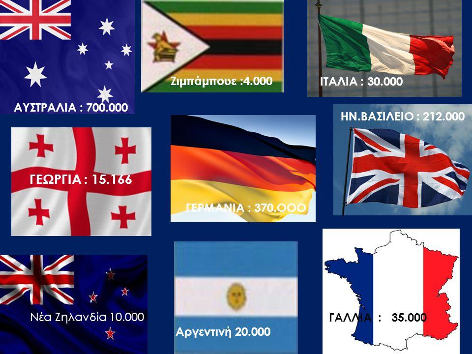 ΓΕΡΜΑΝΙΑ : 370.OOO HN.BAΣΙΛΕΙΟ : 212.000 ΓΑΛΛΙΑ : 35.000 ΑΥΣΤΡΑΛΙΑ : 700.000 ITAΛΙΑ : 30.000 ΓΕΩΡΓΙΑ : 15.166 Ζιμπάμπουε :4.000 Αργεντινή 20.000 Νέα Ζ