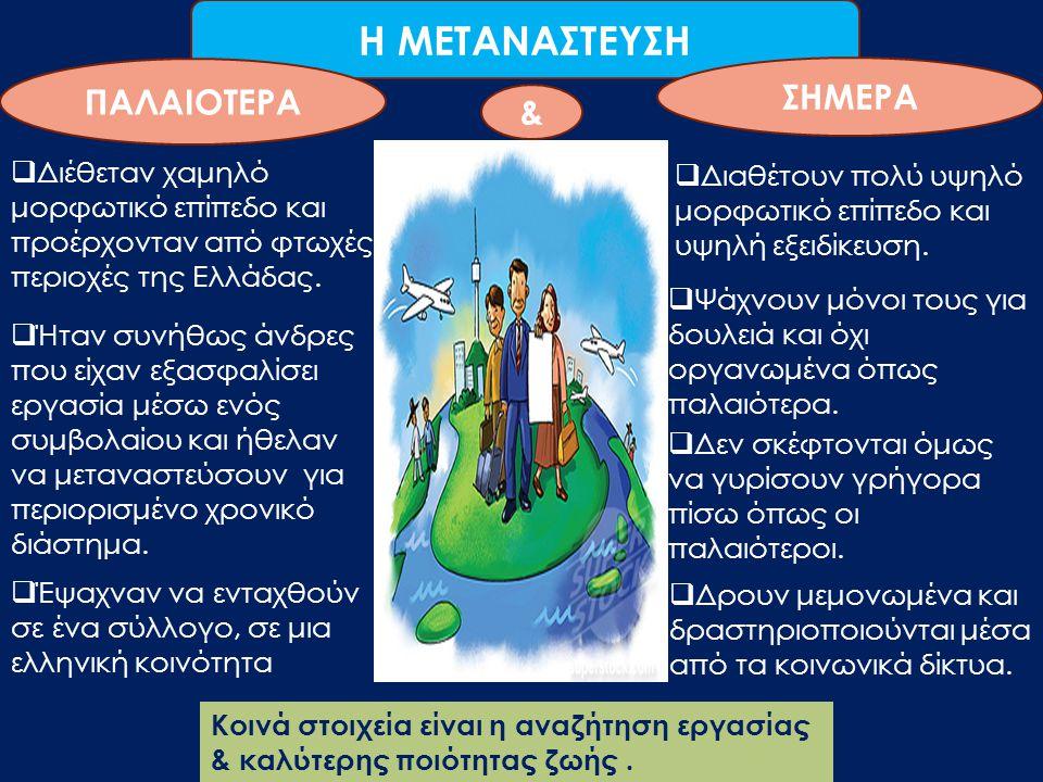 Η ΜΕΤΑΝΑΣΤΕΥΣΗ ΠΑΛΑΙΟΤΕΡΑ ΣΗΜΕΡΑ  Διέθεταν χαμηλό μορφωτικό επίπεδο και προέρχονταν από φτωχές περιοχές της Ελλάδας.  Ήταν συνήθως άνδρες που είχαν