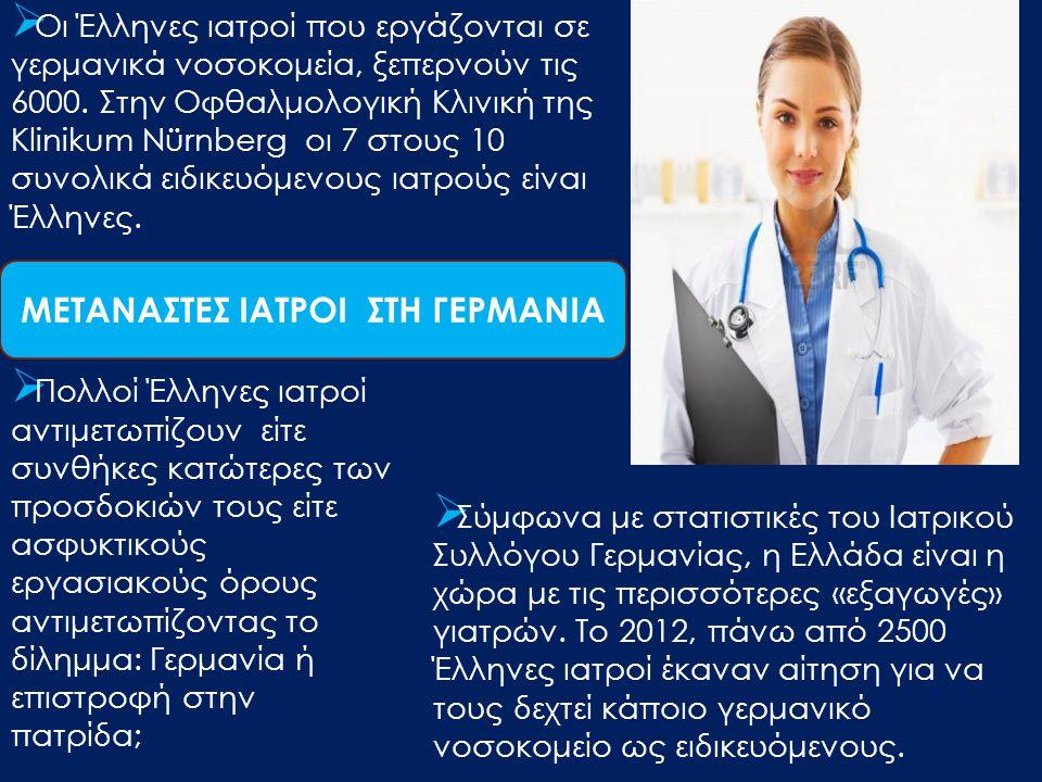  Οι Έλληνες ιατροί που εργάζονται σε γερμανικά νοσοκομεία, ξεπερνούν τις 6000. Στην Οφθαλμολογική Κλινική της Klinikum Nürnberg οι 7 στους 10 συνολικ