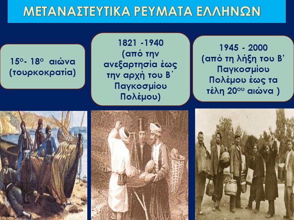 Η ΕΛΛΗΝΙΚΗ ΜΕΤΑΝΑΣΤΕΥΣΗ ΕΠΙ ΤΟΥΡΚΟΚΡΑΤΙΑΣ 15 ος -16 ος αιώνας (υποχρεωτική μετανάστευση) εξαιτίας πολεμικών συγκρούσεων & της επέκτασης των Τούρκων 17 ος -18 ος αιώνας (εθελοντική μετανάστευση) οικονομικοί λόγοι Λόγιοι, ευγενείς, στρατιώτες Καταγωγή από Κρήτη, Κύπρο, Ήπειρο, Μάνη, Ναύπλιο Μεταφορά εμπορευμάτων από την οθωμανική αυτοκρατορία στην κεντρική Ευρώπη, Ρωσία, Αίγυπτο Έλληνας έμπορος 1829 Έλληνας έμπορος 1780 Ίδρυση παροικιών σε παραθαλάσσιες ιταλικές πόλεις και άλλα μέρη της Ευρώπης Εγκαταστάθηκαν κατά μήκος των εμπορικών δρόμων