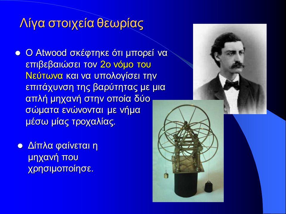 Λίγα στοιχεία θεωρίας Ο Atwood σκέφτηκε ότι μπορεί να επιβεβαιώσει τον 2ο νόμο του Νεύτωνα και να υπολογίσει την επιτάχυνση της βαρύτητας με μια απλή