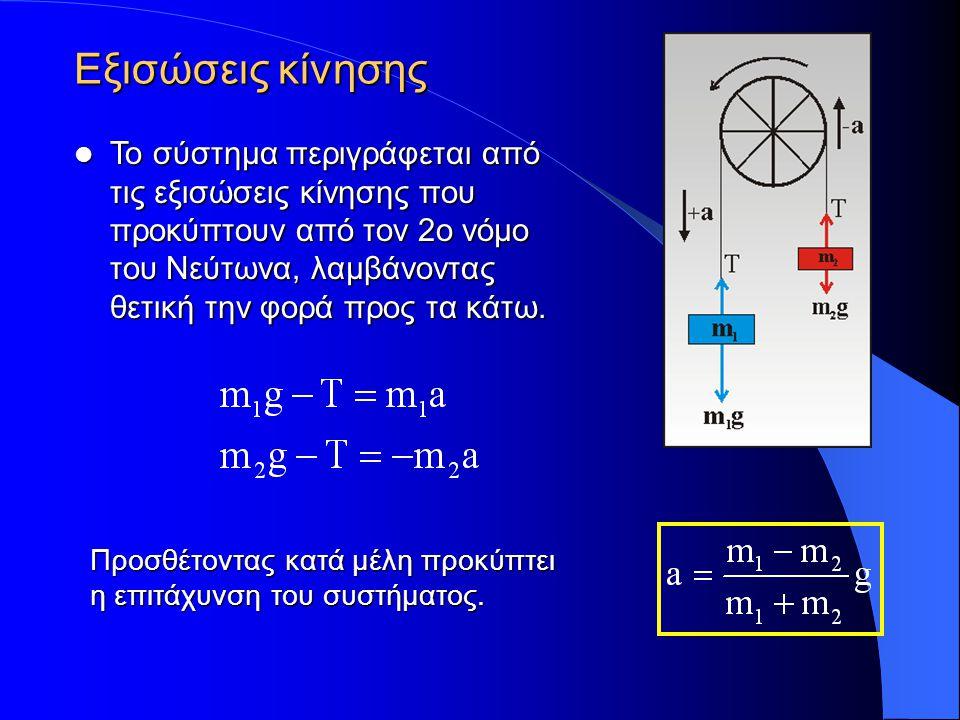Προσθέτοντας κατά μέλη προκύπτει η επιτάχυνση του συστήματος. Το σύστημα περιγράφεται από τις εξισώσεις κίνησης που προκύπτουν από τον 2ο νόμο του Νεύ