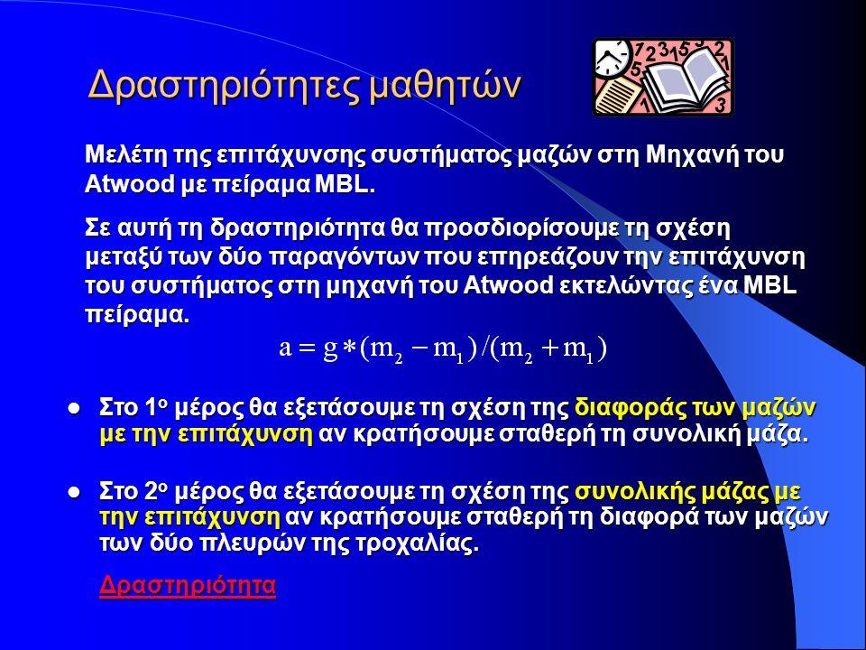 Σχετικές Συνδέσεις Σχετικές Συνδέσεις Εφαρμογές applets με παραλλαγές της μηχανής του Atwood Εφαρμογές applets με παραλλαγές της μηχανής του Atwood http://www.msu.edu/user/brechtjo/physics/atwood/atwood.html http://www.msu.edu/user/brechtjo/physics/atwood/atwood.html (Προσομοίωση της μηχανής του Atwood με τριβή και χωρίς τριβή) http://www.msu.edu/user/brechtjo/physics/atwood/atwood.html http://webphysics.davidson.edu/physlet_resources/bu_semester1/c6 _inclined_atwood.html http://webphysics.davidson.edu/physlet_resources/bu_semester1/c6 _inclined_atwood.html (Προσομοίωση της μηχανής του Atwood σε κεκλιμένο επίπεδο) http://webphysics.davidson.edu/physlet_resources/bu_semester1/c6 _inclined_atwood.html http://physics.bu.edu/~duffy/java/Rotation2.html http://physics.bu.edu/~duffy/java/Rotation2.html (Προσομοίωση της μηχανής του Atwood με ροπές) http://physics.bu.edu/~duffy/java/Rotation2.html