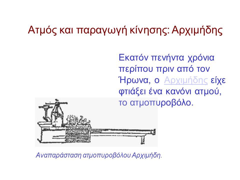 Εκατόν πενήντα χρόνια περίπου πριν από τον Ήρωνα, ο Αρχιμήδης είχε φτιάξει ένα κανόνι ατμού, το ατμοπυροβόλο.Αρχιμήδης Ατμός και παραγωγή κίνησης: Αρχιμήδης Αναπαράσταση ατμοπυροβόλου Αρχιμήδη.