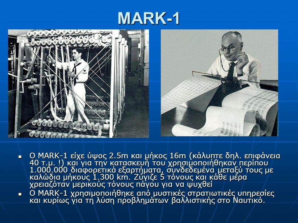 MARK-1 Ο MARK-1 είχε ύψος 2.5m και μήκος 16m (κάλυπτε δηλ. επιφάνεια 40 τ.μ. !) και για την κατασκευή του χρησιμοποιήθηκαν περίπου 1.000.000 διαφορετι