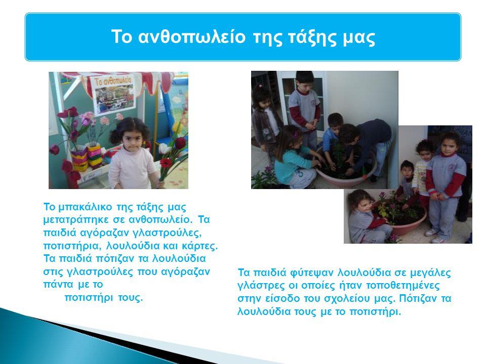 Γλωσσική Αγωγή Το ανθοπωλείο της τάξης μας Το μπακάλικο της τάξης μας μετατράπηκε σε ανθοπωλείο. Τα παιδιά αγόραζαν γλαστρούλες, ποτιστήρια, λουλούδια